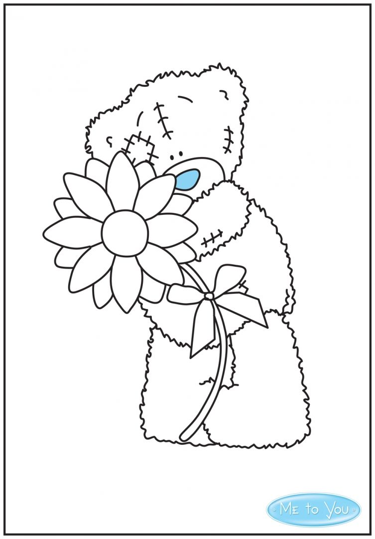 colour in this cute picture of tatty teddy holding a flower and stick - Colour In Stencils