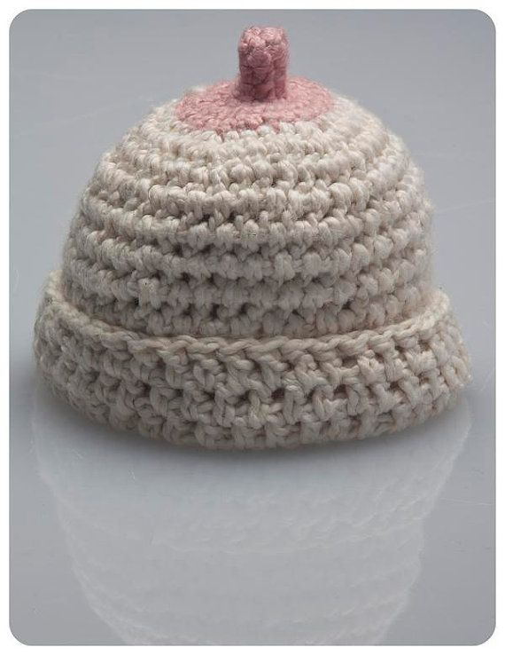 "You've seen those baby hats designed for ""discreet"" breastfeeding? This is the antithesis - the Boobie Beanie!"