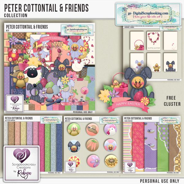 Peter Cottontail & Friends by Scrapbookcrazy Creations by Robyn available at GDS. 30% off for limited time