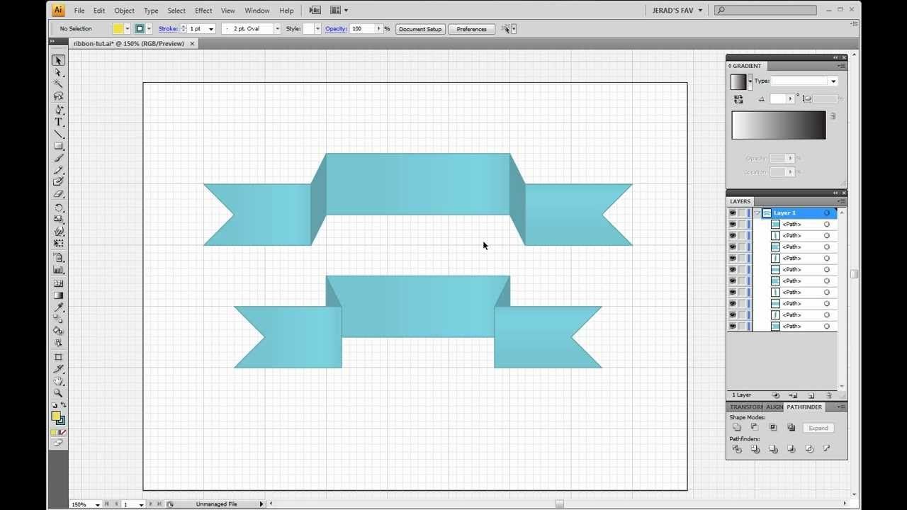 Beginner Illustrator Tutorial -- Simple Inverted Ribbon ...