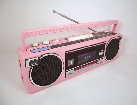 Vintage Panasonic 1980s Pink Portable Boombox Am Fm Radio Cassette Player Model Rx Fm15 Made In Singapore Boombox Radio Cassette Cassette Player