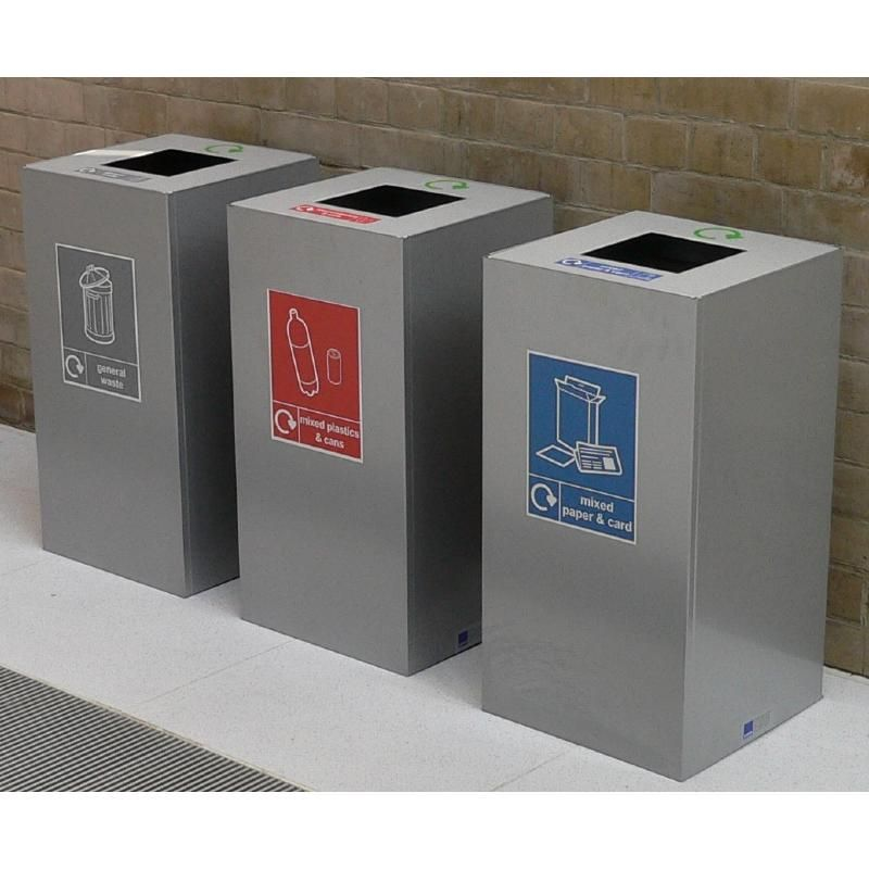 Office Recycling Bins Sorting 100 Litre Square