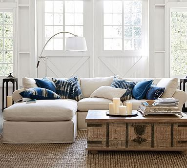 PB Air Slipcovered 4 Piece Sofa With Chaise Sectional #potterybarn