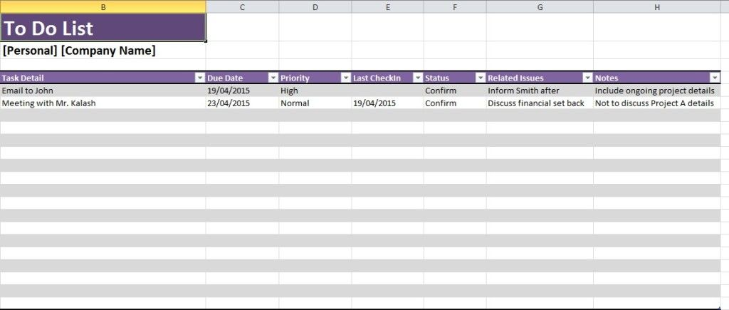 Daily Task List Template Excel Spreadsheet Excel Templates - daily task sheet template
