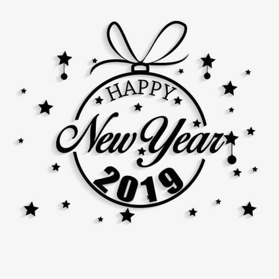 Happy New Year 2019 Image Hd Round Black And White Happy New Year Png Happy New Year Calligraphy New Year Quotes Inspirational Happy