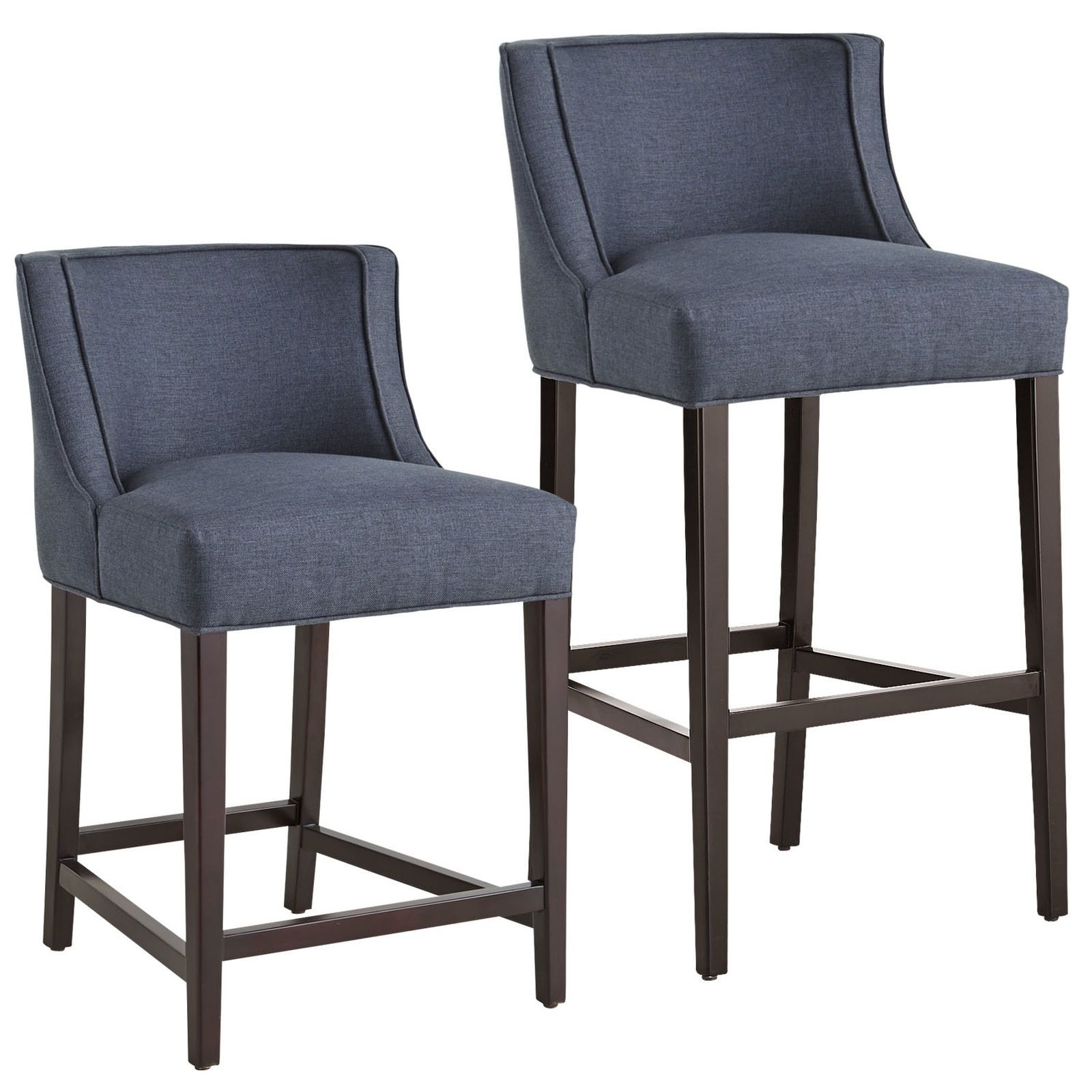 Eva Is Like A Warm Hug From Your Best Dressed Friend Upholstered To The Nines In A Navy Tweed Like Polyes Upholstered Bar Stools Counter Bar Stools Bar Stools