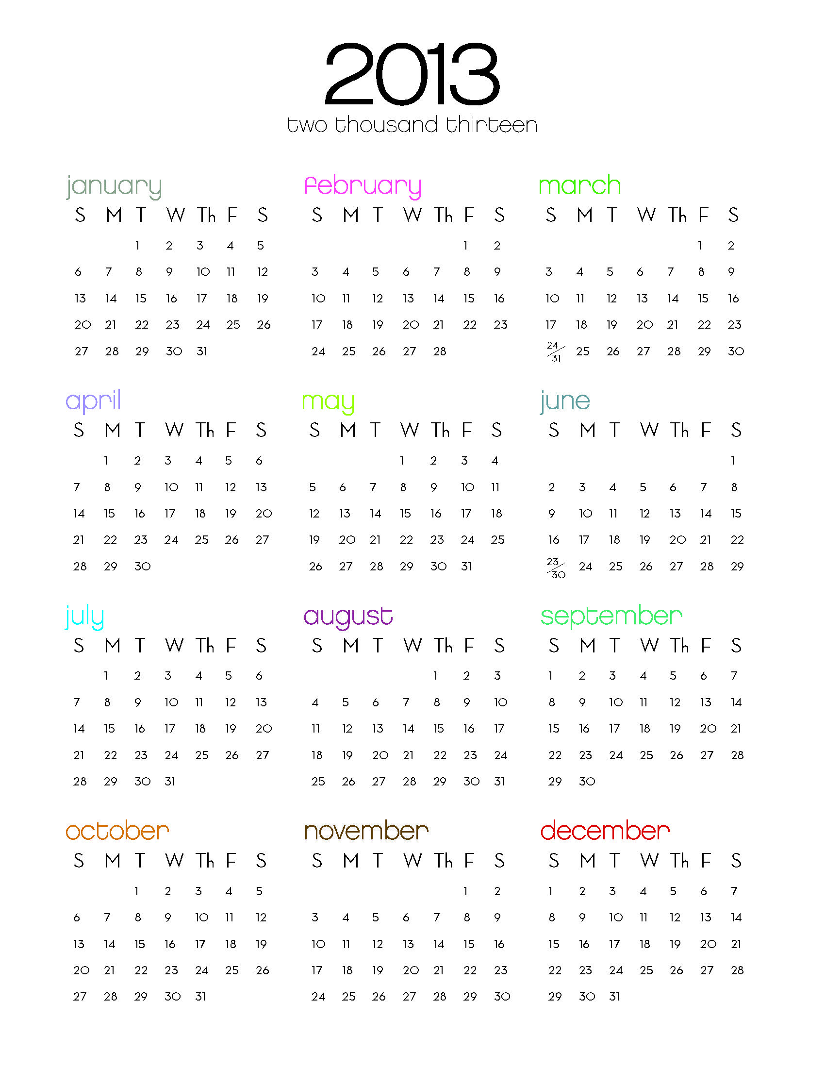 Free 2013 One Page Calendar Download Calendar Template Yearly Calendar Template Weekly Calendar Template