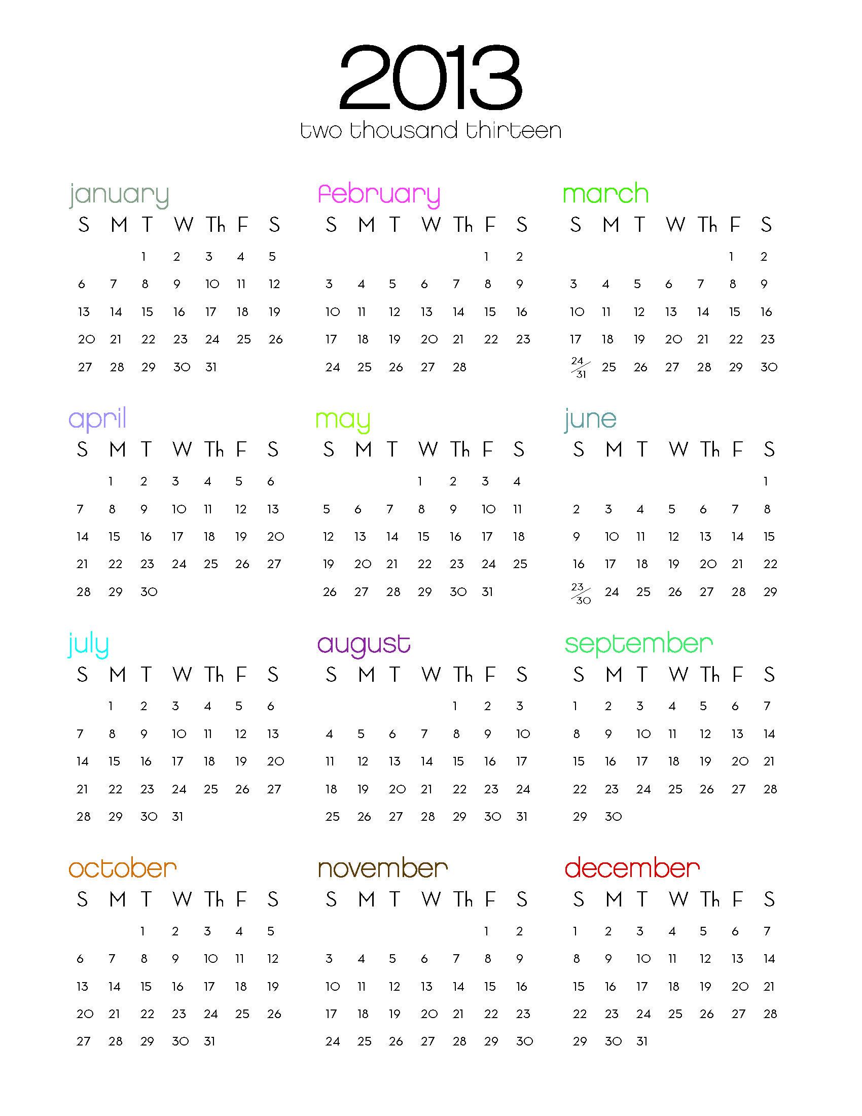 2013 One Page Calendar Calendar Template Weekly Calendar