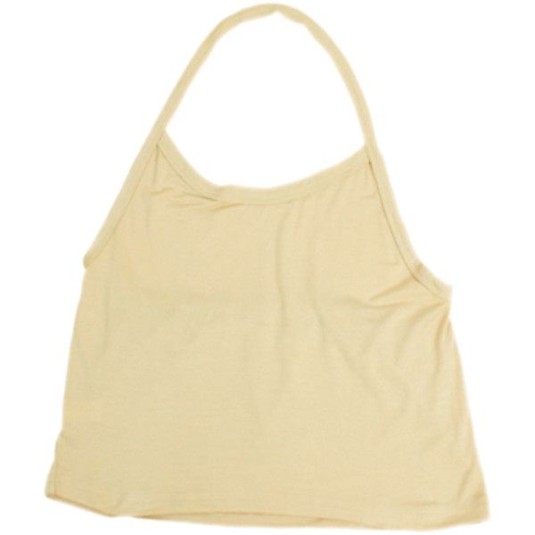 Halter Tie Neck Crop (€9,45) ❤ liked on Polyvore featuring tops, shirts, tank tops, crop tops, crop top, shirt top, beige crop top, halter shirt and halter top