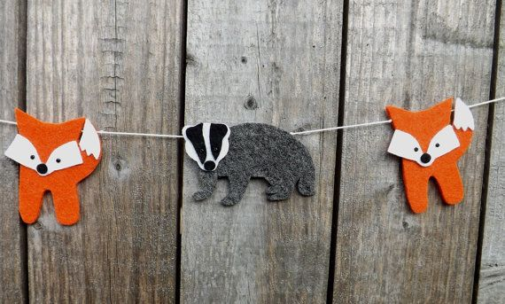 Fox and Badger Garland Woodland Banner Fox and badger by FeltWitch