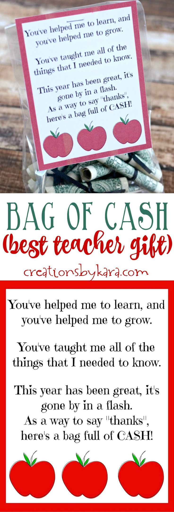 Best teacher gift a bag of cash with printable note card any best teacher gift a bag of cash with printable note card any teacher would negle Choice Image