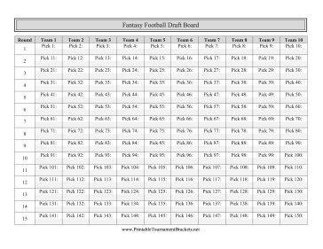 This Printable Fantasy Football Draft Board Allows Ten Teams To