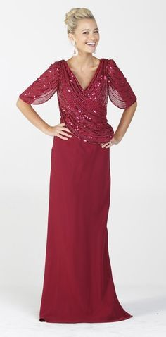 Sequin Top Burgundy Formal Gown Long Mid Length Sleeve V Neckline