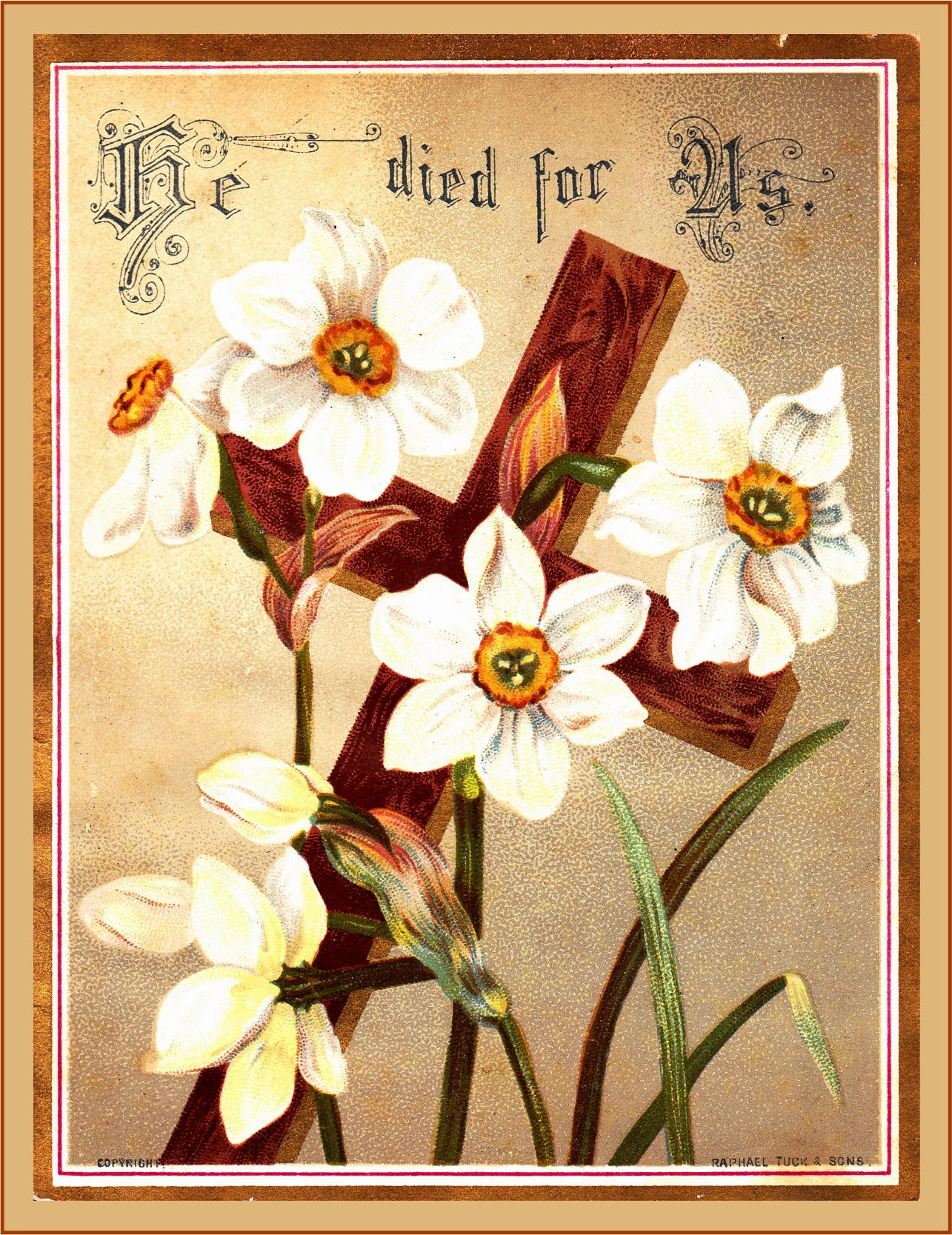 Free vintage easter postcard he died for us easter - Christian easter images free ...