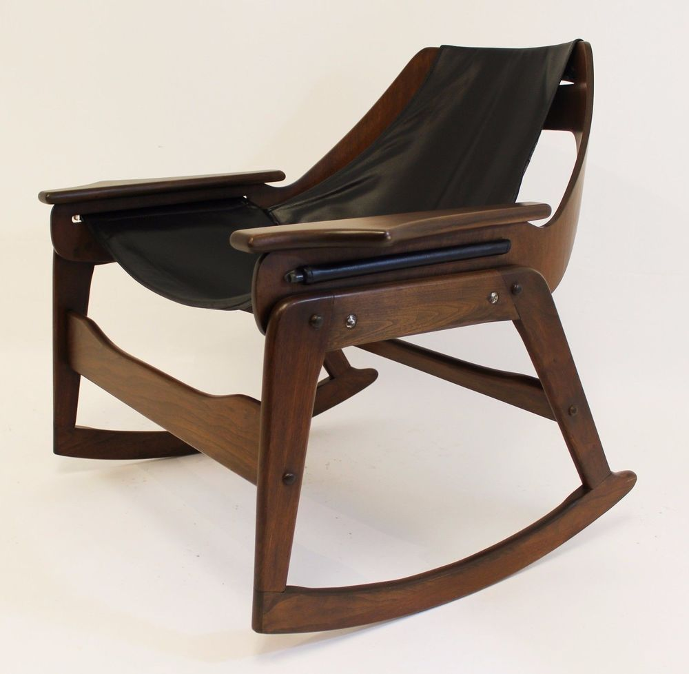 Mid Century Modern Jerry Johnson Sling Rocking Chair 1960u0027s