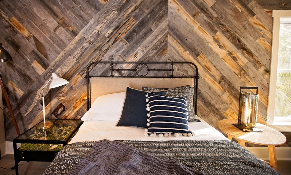 The Design Network Using Stikwood Reclaimed Wood Wall Planking In  Herringbone Pattern!