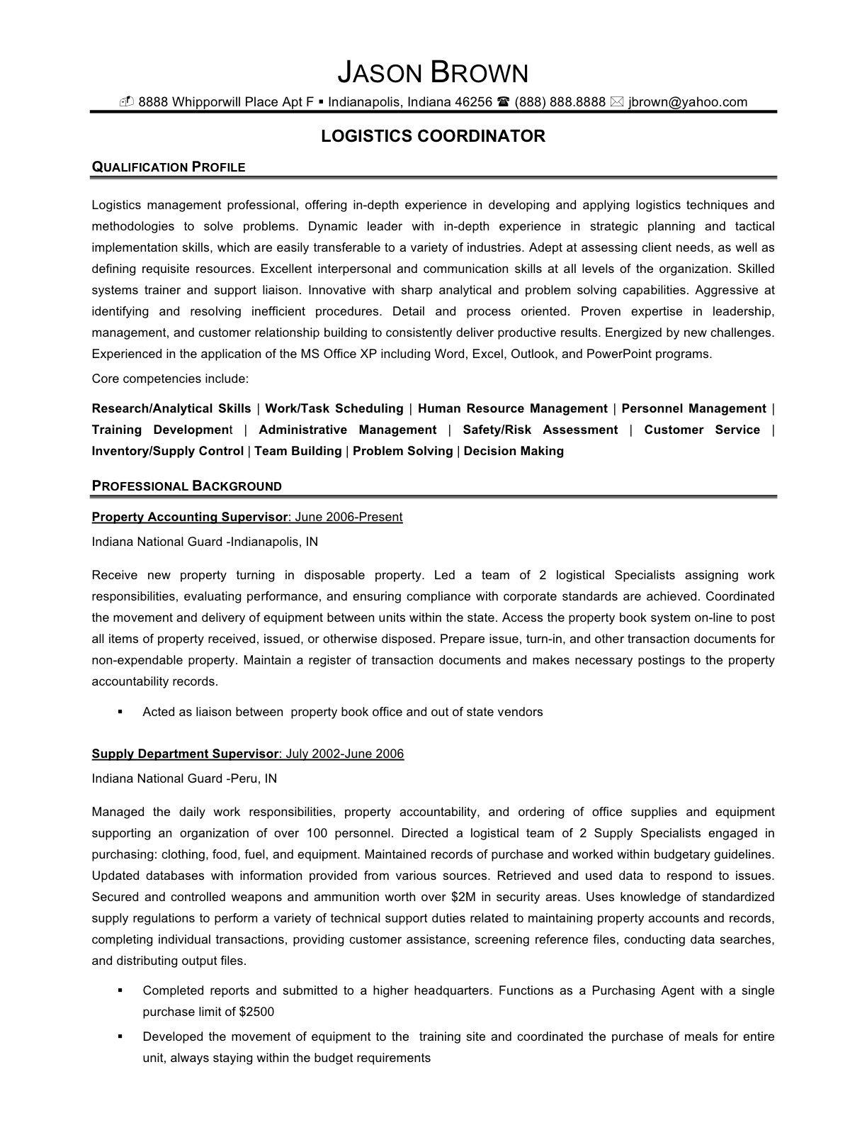 Senior Logistic Management Resume