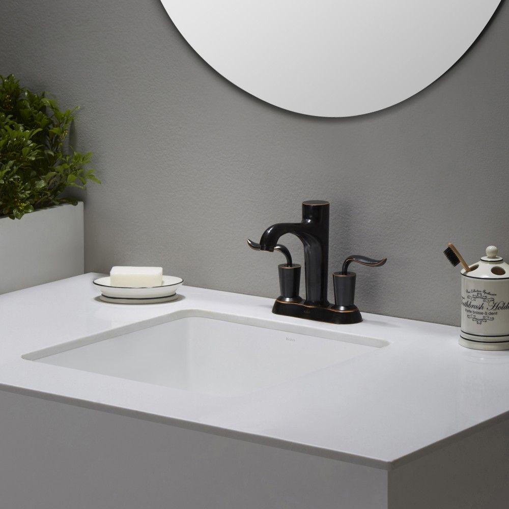 Kraus Kcu 231 Elavo Ceramic Square Undermount Bathroom Sink With Overflow White Efaucets
