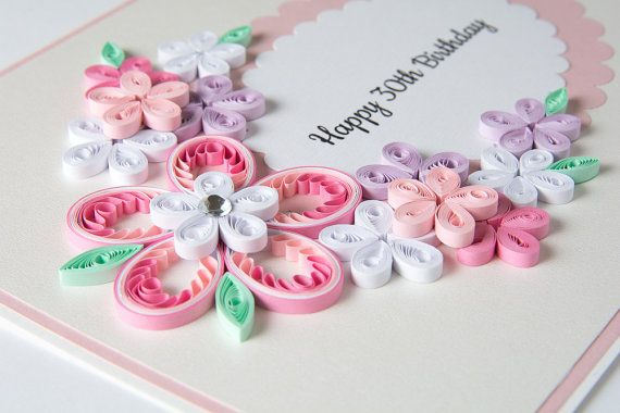 Beautiful 30th Birthday Card Quilling Quilled Floral Keepsake Handmade Gift Elegant Unique For Wife Girlfriend Best Friend Girl Custom