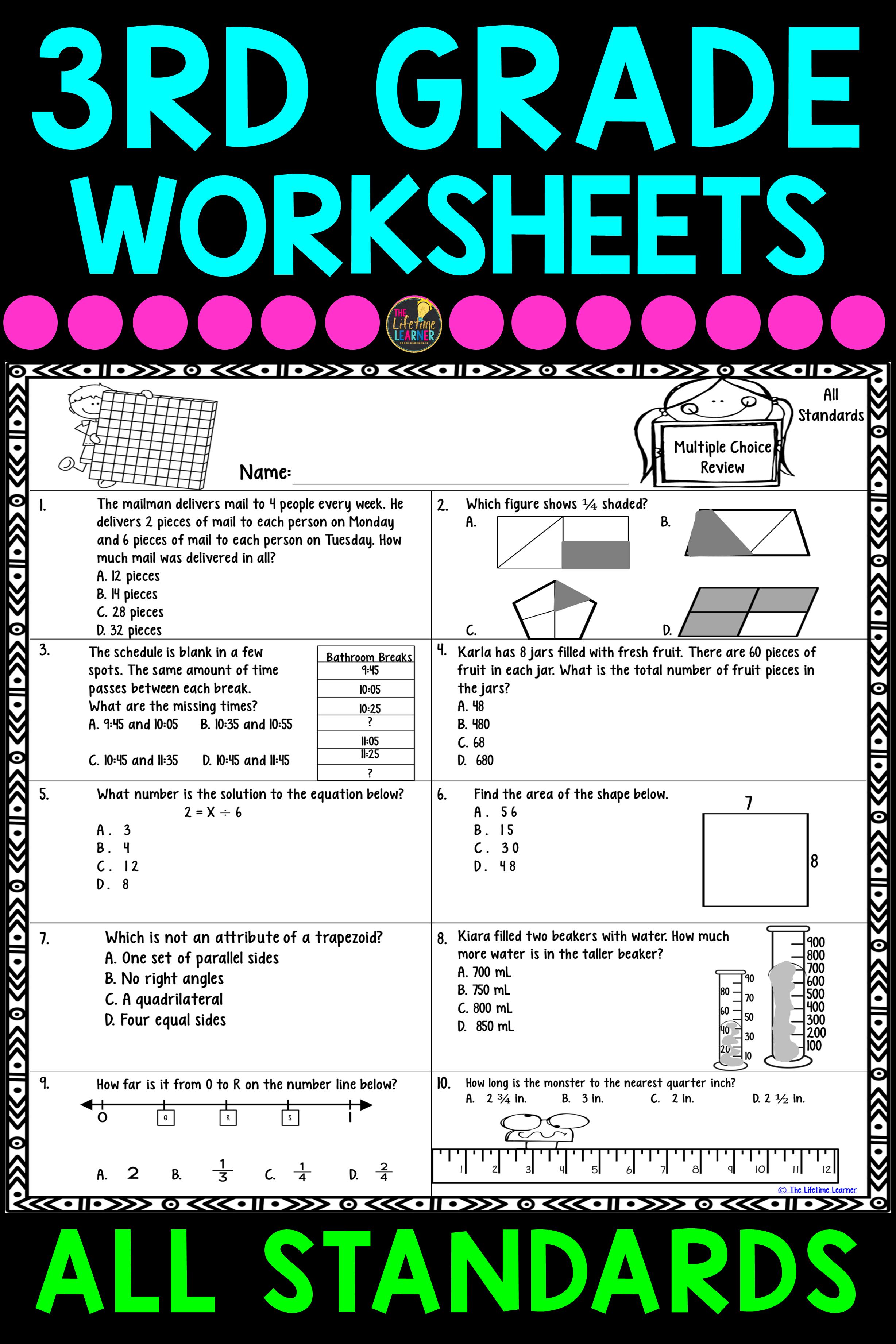 3rd Grade Math Worksheets BUNDLE | Math worksheets, Worksheets and Maths
