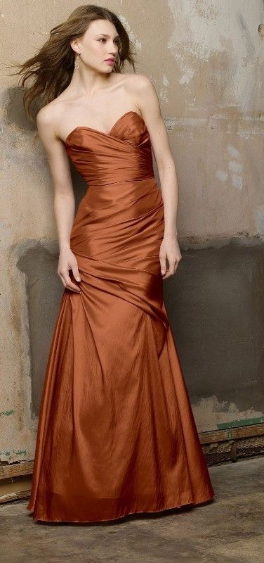 Amber colored bridesmaid dresses