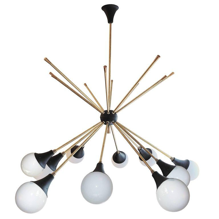 Mid Century Modern Impressive Italian Ceiling Lamp In The Style Of