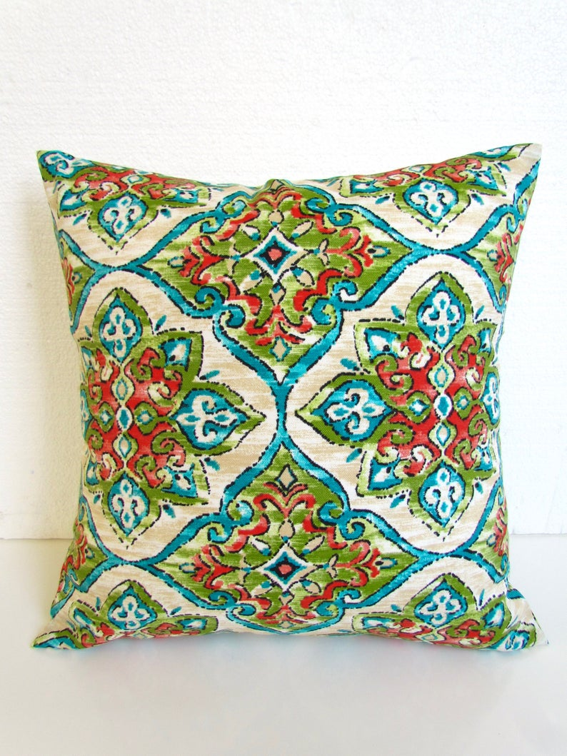 Outdoor Pillows Turquoise Pillow Covers Green Outdoor Etsy