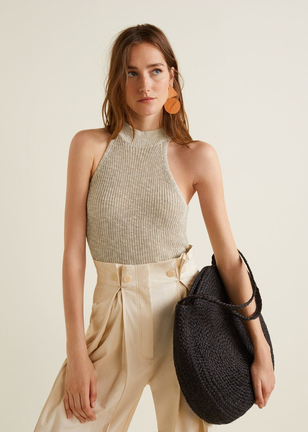 c12449911be1 Knitted fabric Cotton and linen mix Halter neck Cable knit collar Sleeveless