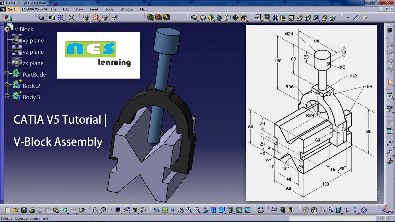 CATIA V5/V6 Tutorial | *NEW* V Block Assembly Design Step-By-Step