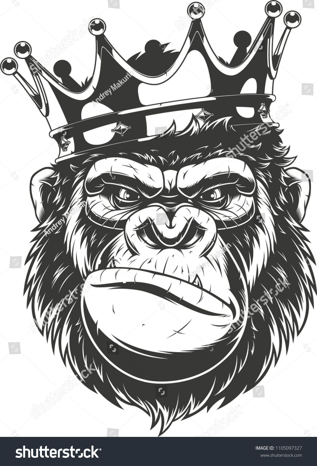 Vector Illustration Of A Funny Gorilla Head In Crown Isolated Image On A White Backgroundgorilla Head Funny Gorilla Illustration Gorilla Tattoo Gorillas Art