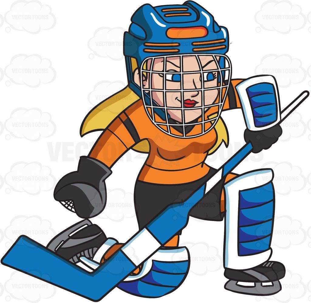A Female Hockey Goaltender Prepares To Block A Puck Vector Graphics Vectortoons Com Hockey Goalie Pads Goalie Pads Hockey