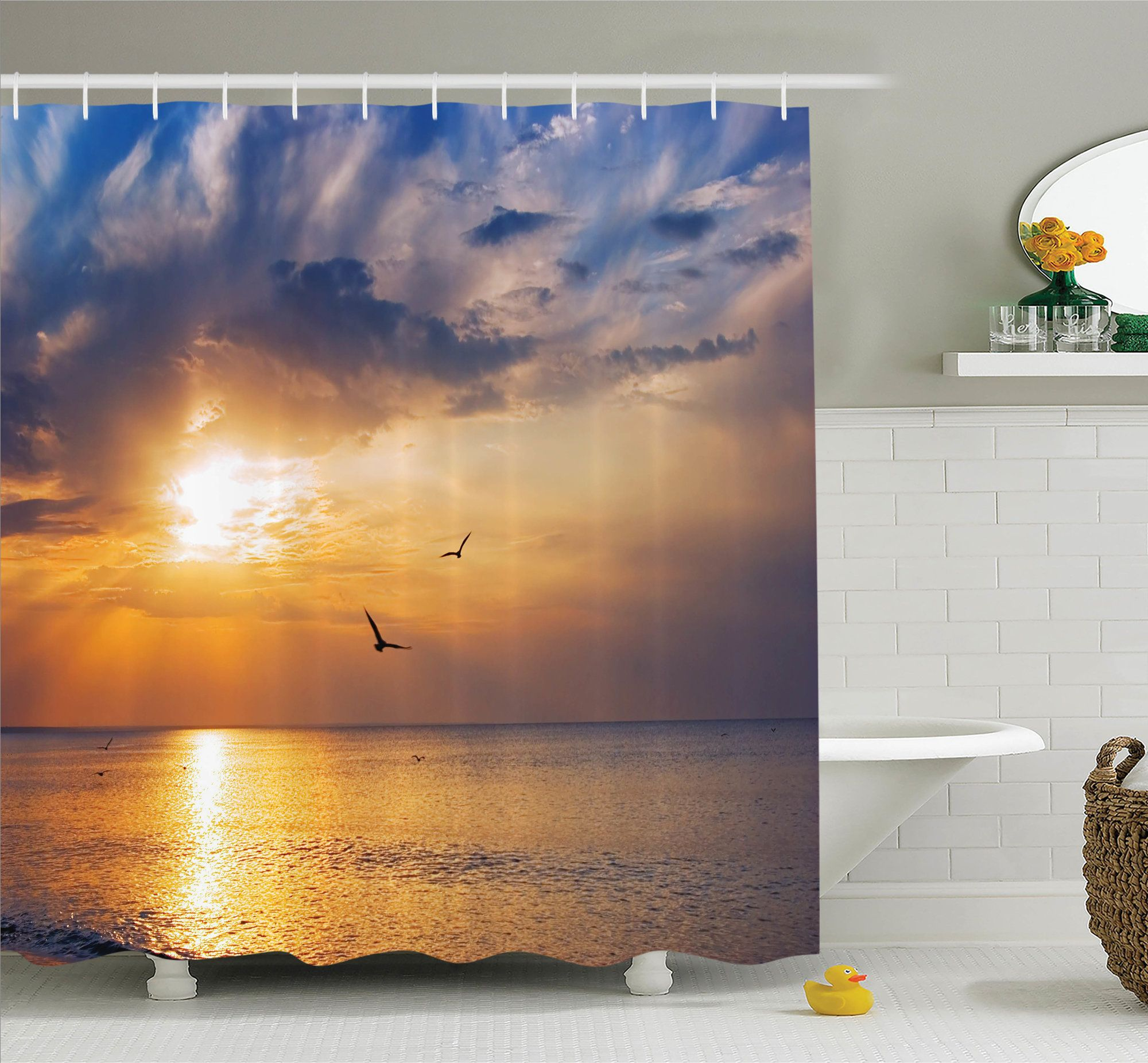 Nature early morning sunrise shower curtain set shower curtain