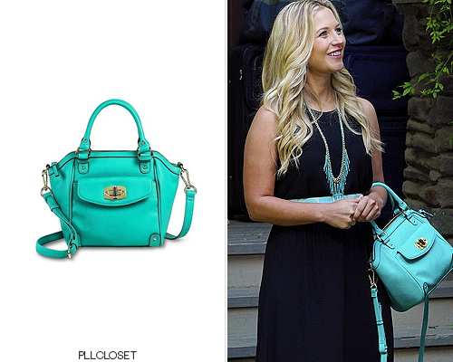 Cece's teal colour of this Merona bag she carried in a flashback in 6x10'Game Over, Charles' is now sold out, but it is still available in 4 other colours below. If you wanted the bag for the colour, there is another very similar bag by Merona available in the same colour HERE. Thanks anon for this submission!Merona'Mini Tote Handbag' -$18.48+(wrong colours)Worn with: Decree necklace