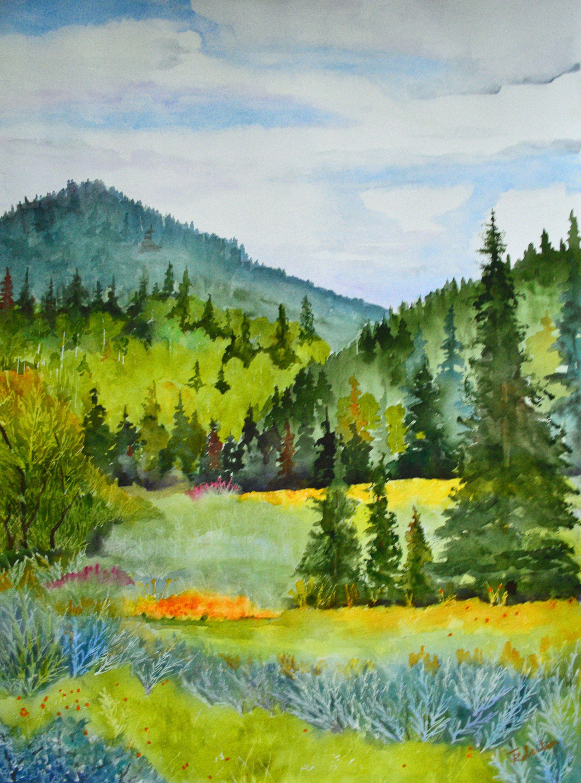 Landscape Mountains Original Watercolor Art Print Watercolor