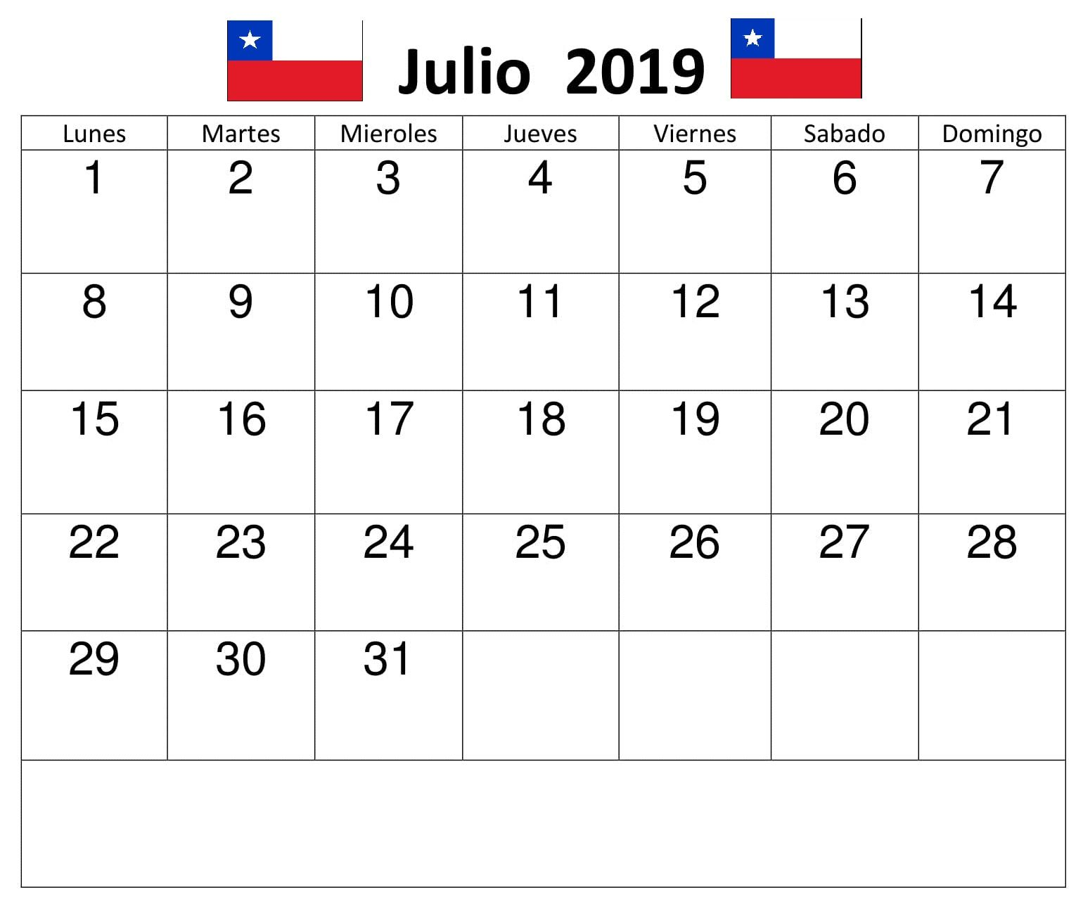 Calendario Julio 2019 Grande.Gratis Calendario Julio 2019 Chile Calendario Julio 2019