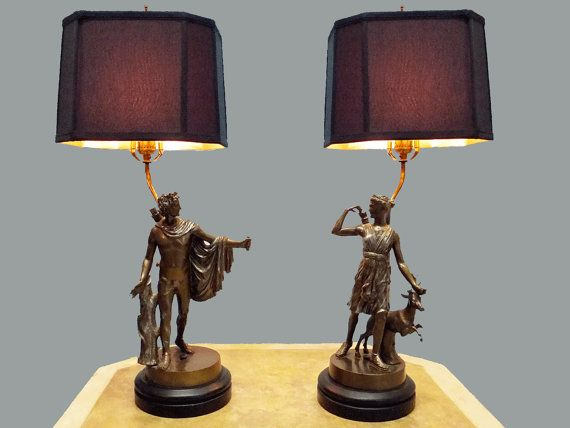 Pair Greek Mythology Table Lamps of Apollo and Diana by imodern, $575.00