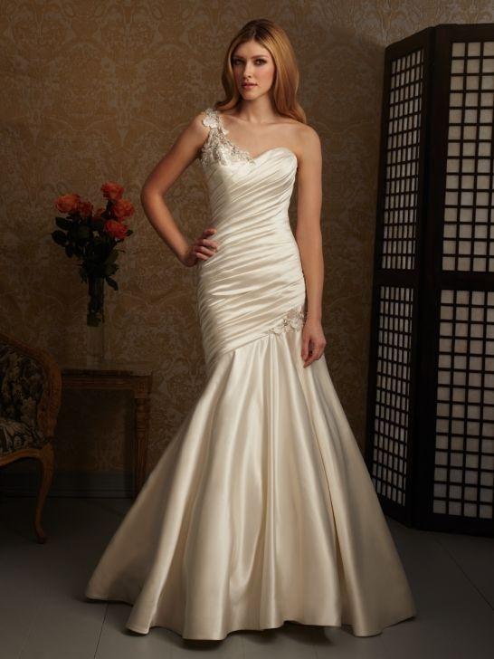 Satin-Back Taffeta Mermaid One-Shoulder Sleeveless Wedding Dress ...