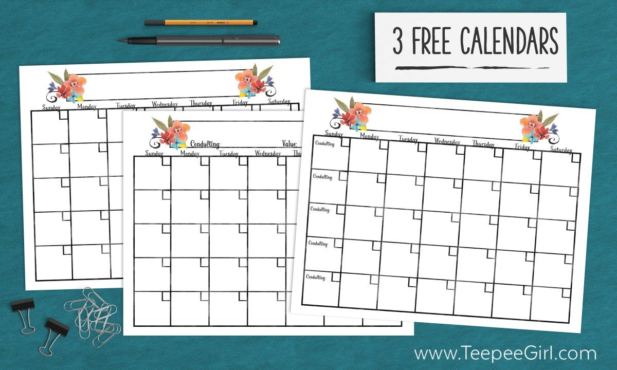 Calendars For Young Women  Young Women Free Blank Calendar