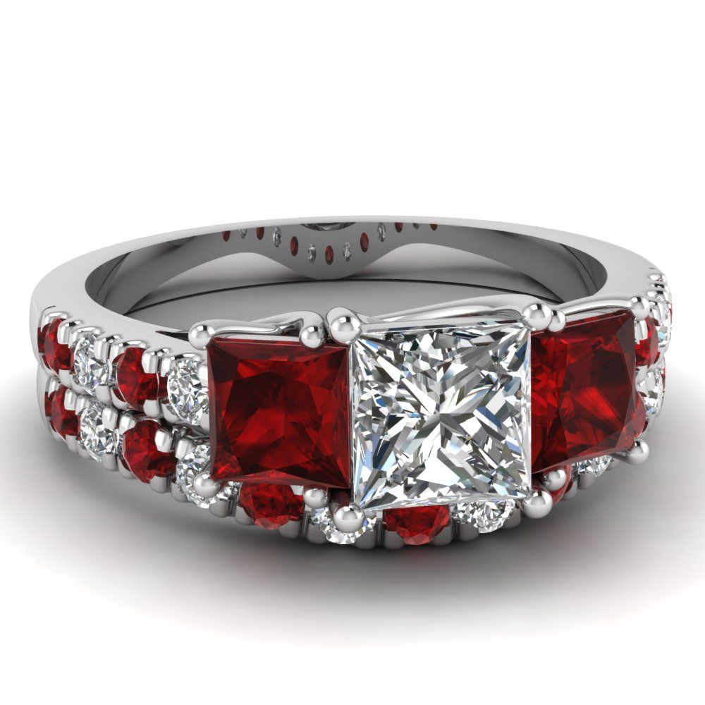 http://rubies.work/0066-ruby-rings/ white gold princess white diamond engagement wedding-ring with red ruby