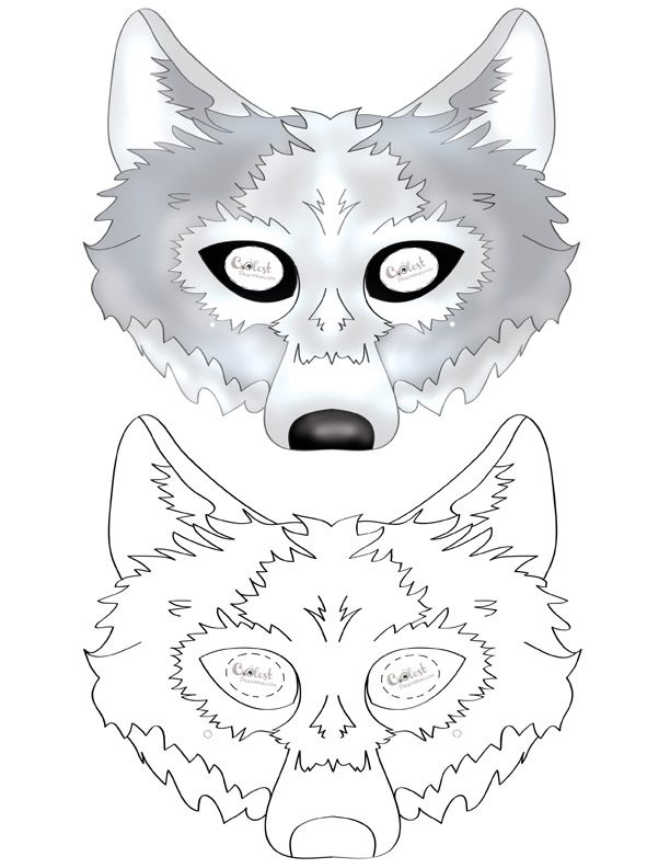 Printable Wolf Mask Wolf Mask Paper Mask Template Wolf Craft