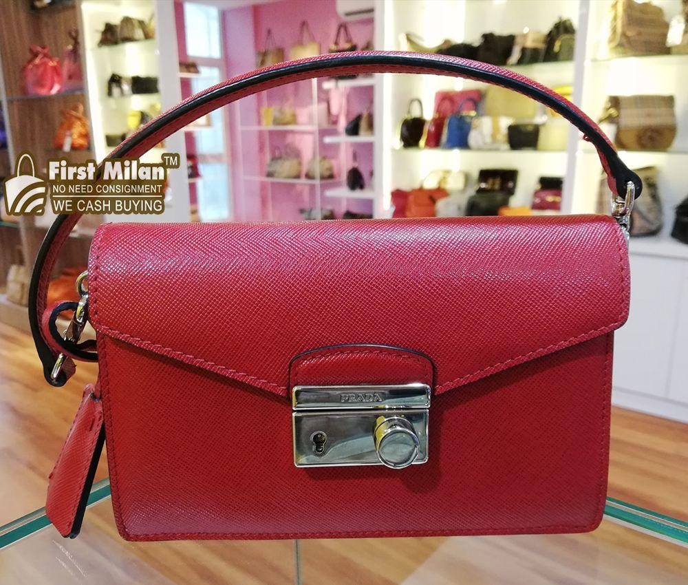 11899a2ef0 PRADA Saffiano Lux Mini Flap Bag. Best Price ~ RM2