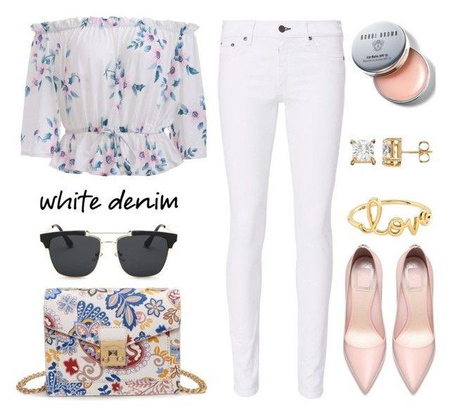"""Bright White: Summer Denim"" by samra-bv ❤ liked on Polyvore featuring rag & bone, Bobbi Brown Cosmetics, Sydney Evan, whitejeans, polyvorecontest and polyvorefashion"