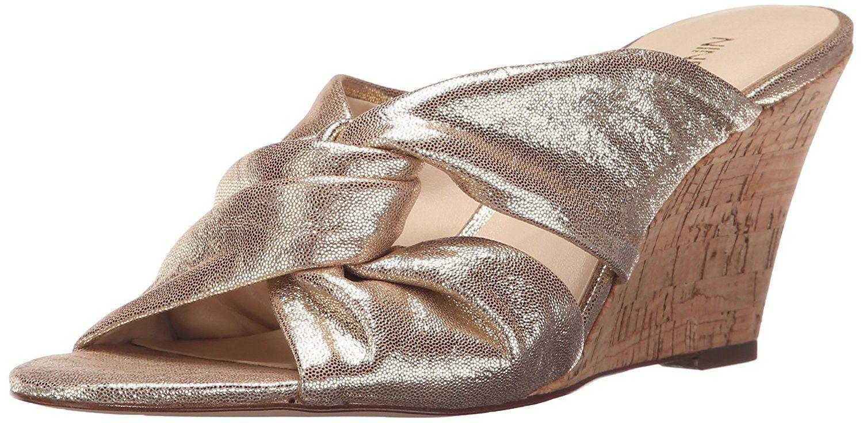 Nine West Women's Kessie Metallic Wedge Sandal, Light Silver Metallic, 6 M  US