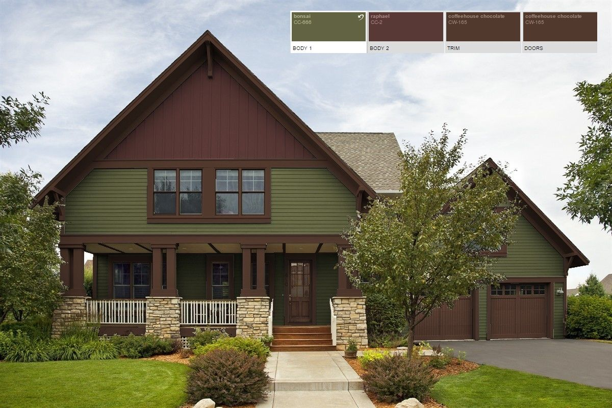 Dark green house with brown trim mycoffeepot org - What color is sage green ...