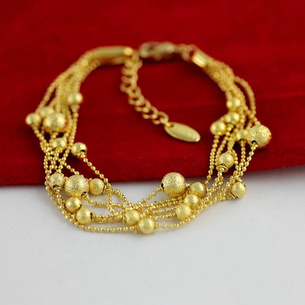 Click to buy ucuc layer beads chain yellow gold filled womens