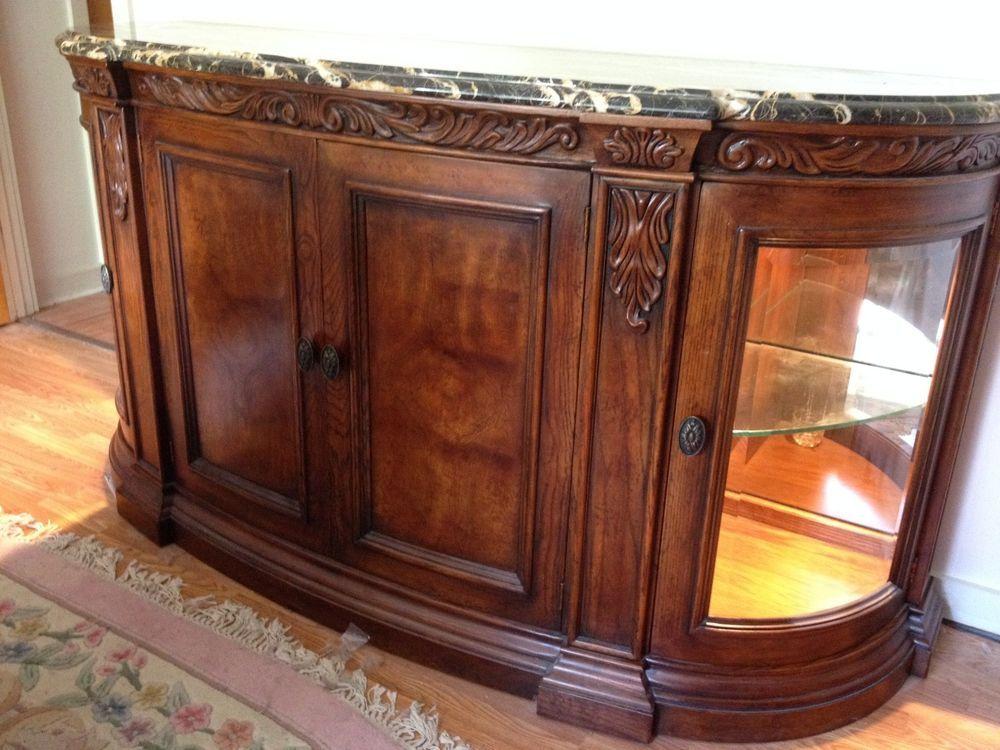 Henredon Buffet Sideboard St Laurent Marble Top Palais Glass Wood Doors Lights