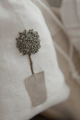 ♒ Enchanting Embroidery ♒  embroidered topiary with applique pot