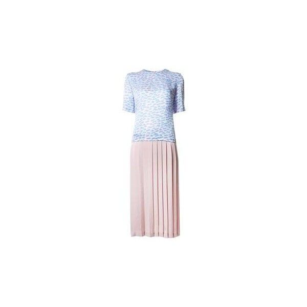 Julien David Woven Dress ($762) ❤ liked on Polyvore featuring dresses, pink, pattern dress, pink print dress, nylon dress, braid dress and woven dress