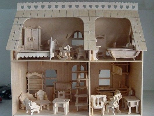Model Kits Free Shipping Educational 3d Wooden Toy House Diy Wood House With 34pcs Furniture Woodencraft Construction