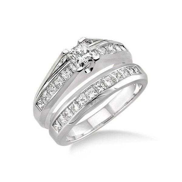 2 carat princess cut diamond affordable diamond wedding ring set on 10k white gold - Cheap Real Diamond Wedding Rings